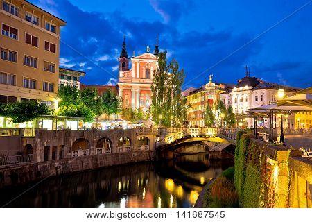 Tromostovje bridge and Presern square in Ljubljana evening view capital of Slovenia