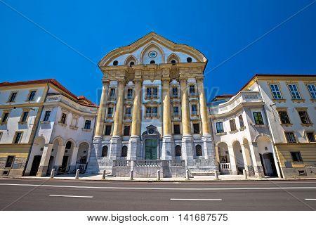 Church of Holy Trinity landmark of Ljubljana view capital of Slovenia