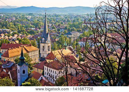 Old Ljubljana cityscape aerial view capital of Slovenia