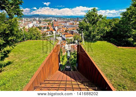 Funicular of Ljubljana and city aerial view capital of Slovenia