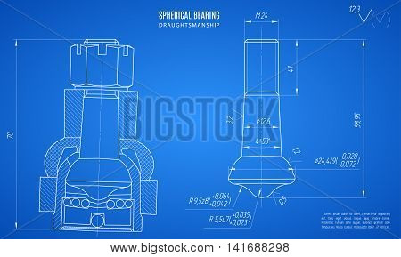 blueprint of spherical bearing project technical drawing on the blue background. stock vector illustration eps10