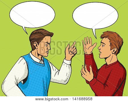 Men debate. People quarrel. Cartoon pop art vector illustration. Human comic book vintage retro style.