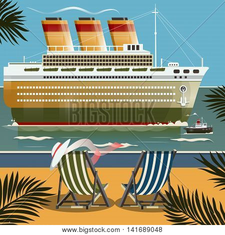 Cruise ship near the shore. Cartoon colorful vector illustration