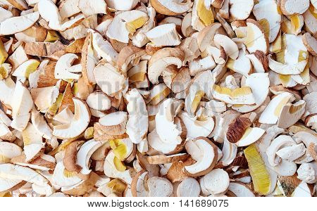 Fresh Sliced Porcini Mushrooms Texture. Food Background.