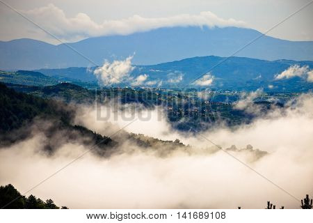 Hills and landscape in fog morning view of Istria and Ucka mountain Croatia