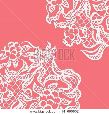 Lace ornamental background with flowers. Vintage fashion textile.