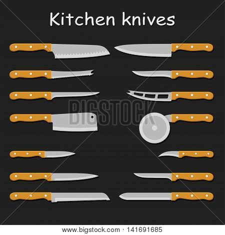 Set of steel kitchen knives carving, paring, and utility sharp tool cooking equipment collection. Sharp kitchen knife vector illustration isolated on black background