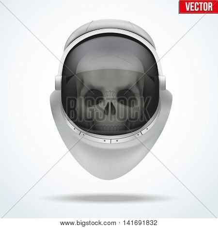 Astronaut space helmet with skull behind visor glass. Front view. Vector Illustration isolated on white background.