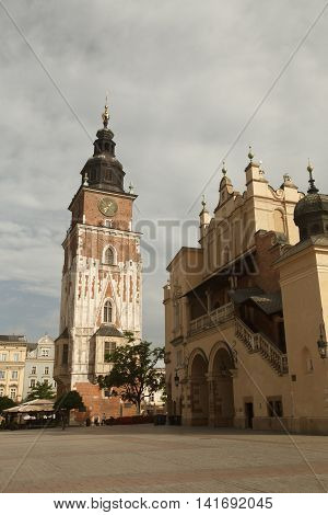 City Hall And The Cloth Hall On The Market Square. Krakow, Poland