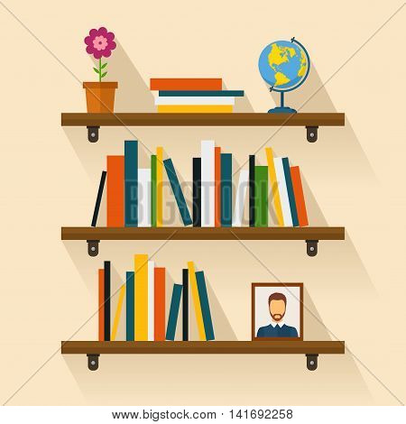 Shelves with colorful books in flat style. Bookshelf reading books, picture and globe with shadow.