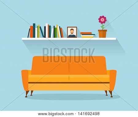 Sofa and fhelf Sofa and fhelf with colorful books. Retro flat style. Modern design interior orange sofa and bookshelves