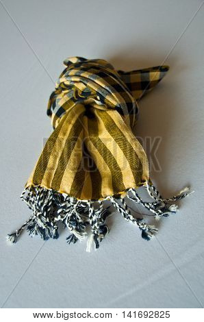yellow of striped loincloth fabric, top view