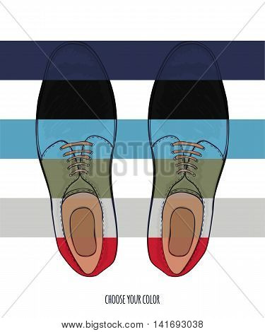 Advertising men shoes different colors. Business style in clothes. Vector illustration