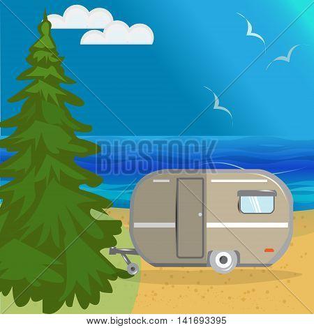 Vector summer sea landscape with a huge Christmas tree beach beautiful sea blue sky