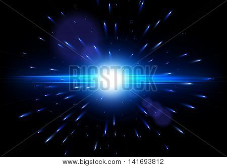 Explosion on a black background, Vector glowing light effect, Lens flare effect