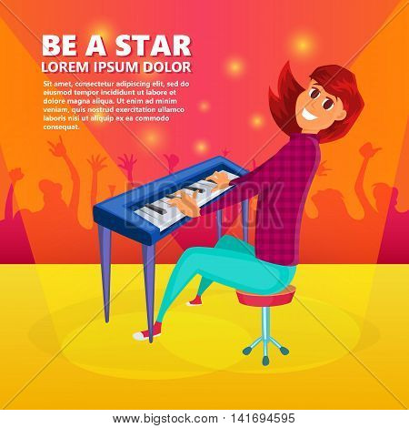 Girl playing the piano. Piano concert background. Cartoon vector illustration of teenage girl playin piano concert on stage.
