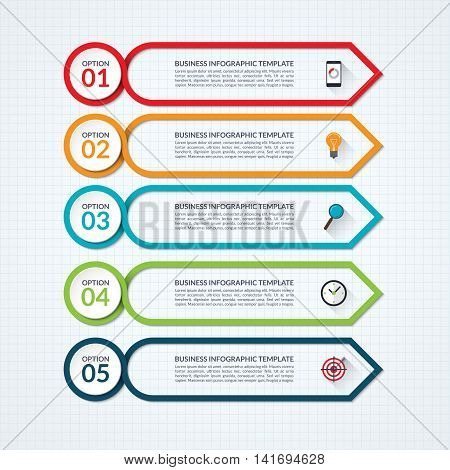 Infographic arrow design template with 5 options, steps, parts, processes. Vector banner what can be used for diagram, graph chart, report, plan, strategy, data visualisation, web design