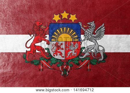 Flag Of Latvia With Coat Of Arms, Painted On Leather Texture