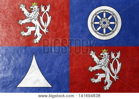 Flag Of Liberec Region, Czechia, Painted On Leather Texture