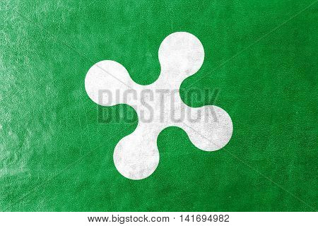 Flag Of Lombardy Region, Italy, Painted On Leather Texture