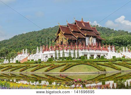 Ho Kham Royal Pavilion the architectural style of northern Thailand in Royal Park Ratchaphruek