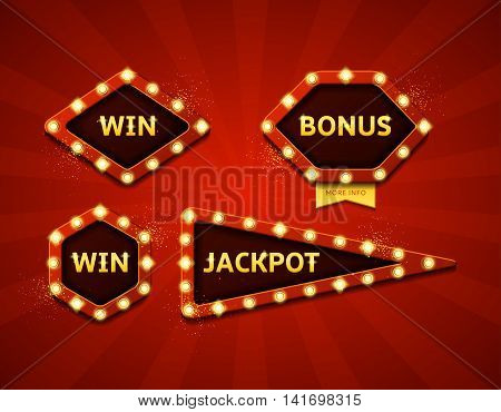Set of retro banners with glowing lamps. Collection of vector symbols with shining lights in vintage style. Labels for winners of poker, cards, roulette and  lottery.