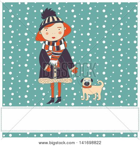 Pretty red-haired girl with a dog. Vector illustration.