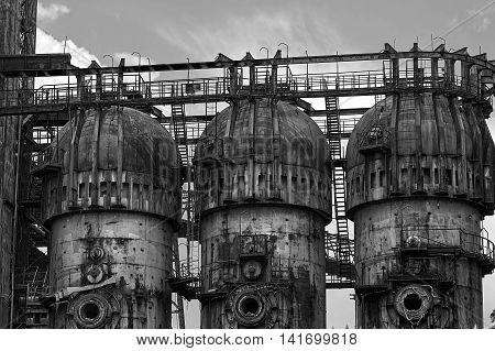 Black and white background with old steel furnace from Resita city Romania.