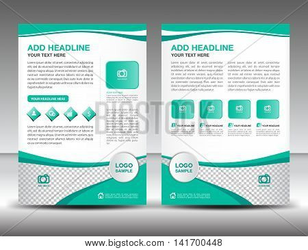 Green business brochure flyer design layout template in A4 size, newsletter, leaflet, vector, cover, annual report ,magazine ads, poster, catalog
