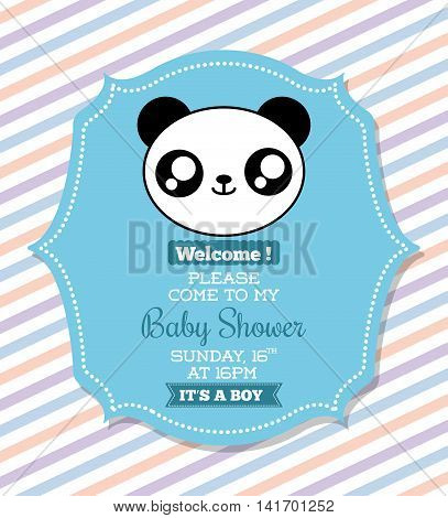 Baby Shower invitation design represented by kawaii panda cartoon. Pastel color illustration.