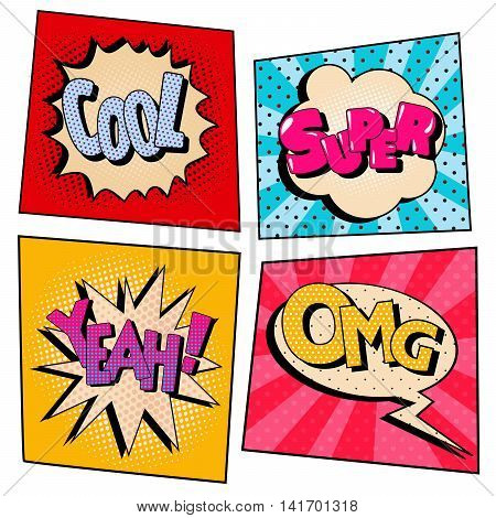 Vintage Pop Art Comic Speech Bubble Set with Expressions. Vector illustration
