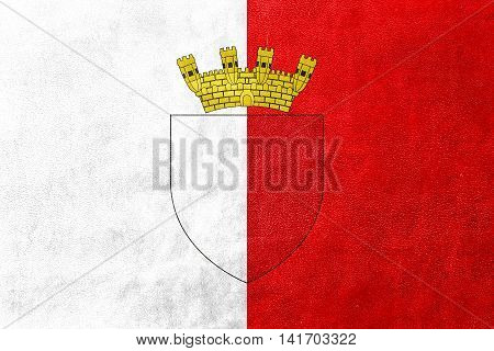 Flag Of Mdina With Coat Of Arms, Malta, Painted On Leather Texture