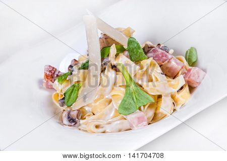 Pasta Carbonara. Isolated Dish On A White Background