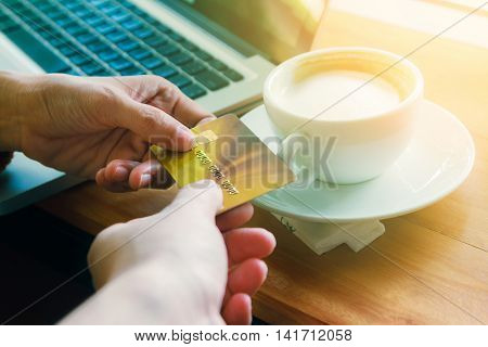Paying Arrangements. Waitress Taking A Credit Card From Custom, Holding A Credit Card After Paying F