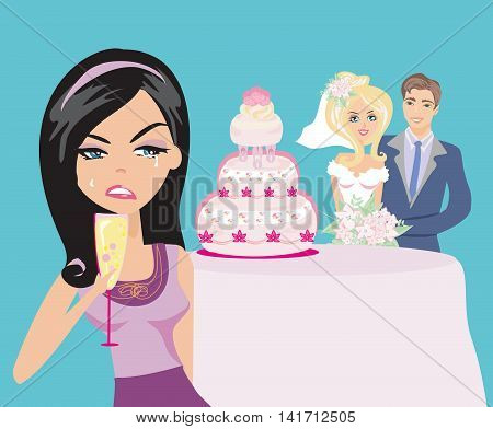young woman jealous on a happy Wedding pair , vector illustration