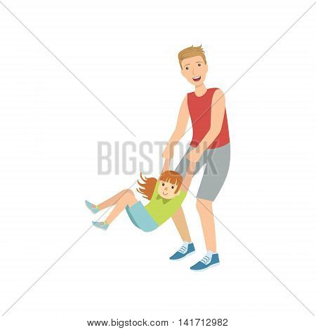 Dad Spinning His Daughter Holding Her Wrists Simple Childish Flat Colorful Illustration On White Background