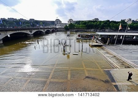 PARIS FRANCE - JUNE 8: Seine level dropping to normal after 30-year high during a week of floods on June 8 2016 in Paris.