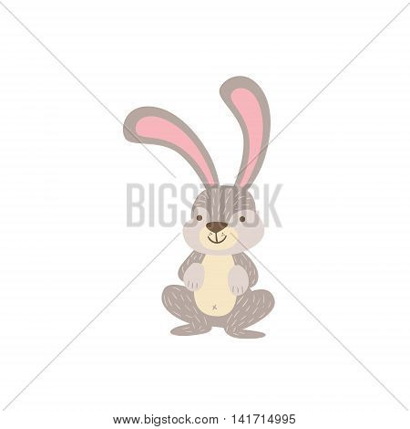 Grey And White Hare Crouching Stylized Cute Childish Flat Vector Drawing Isolated On White Background