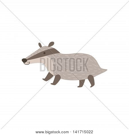 Grey Badger Walking Stylized Cute Childish Flat Vector Drawing Isolated On White Background