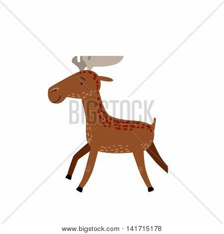 Brown Spotted Moose Running Stylized Cute Childish Flat Vector Drawing Isolated On White Background