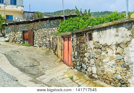 The medieval housing in historic Pelendri village located in Troodos Mountains Cyprus.