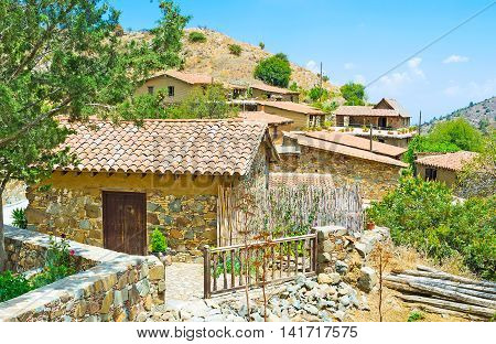 The old traditional village nowadays is uninhabited and functions as open air ethnographic museum Fikardou Cyprus.