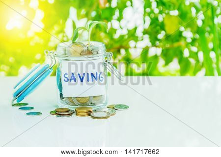 Money In The Glass With Filter Effect Retro Vintage Style,coins In Jar With Saving, Retirement And E