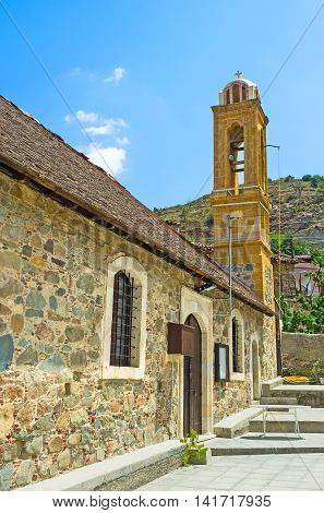 The old Church of St George in mountain Gourri village Cyprus.