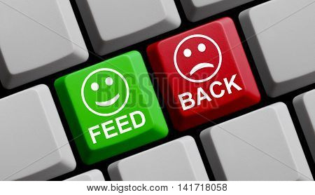 Computer Keyboard with symbols is showing positive and negative Feedback