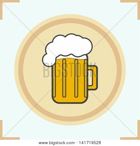 Foamy beer mug color icon. Pub emblem. Vector isolated illustration