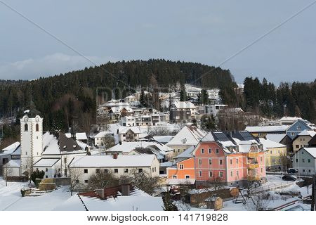 rural community Vorderweissenbach snowy in winter - Austria