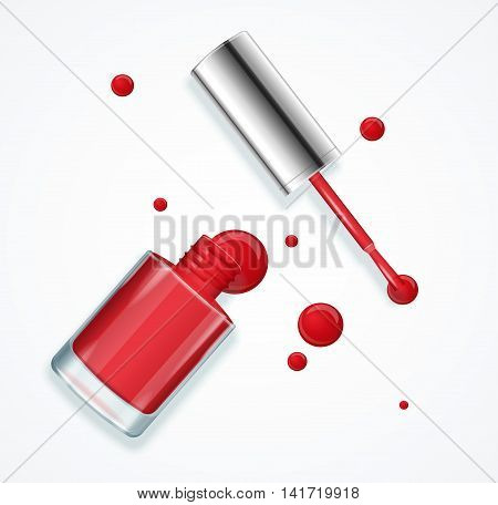 Red Nail Polish in Glass Bottle Open. Vector illustration