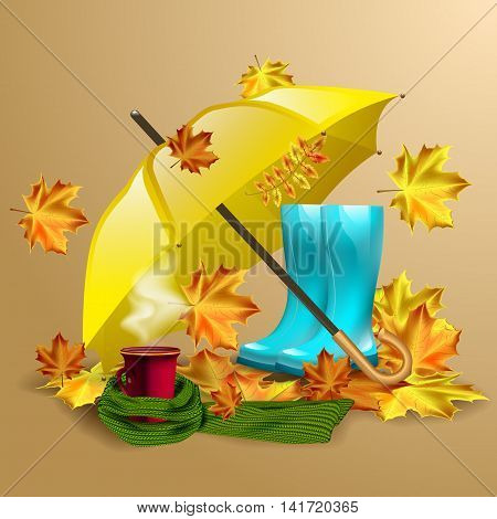 Autumn vector background with autumn leaves, yellow umbrella, blue rubber boots and cup of hot coffee or tea in the knitted green scarf.