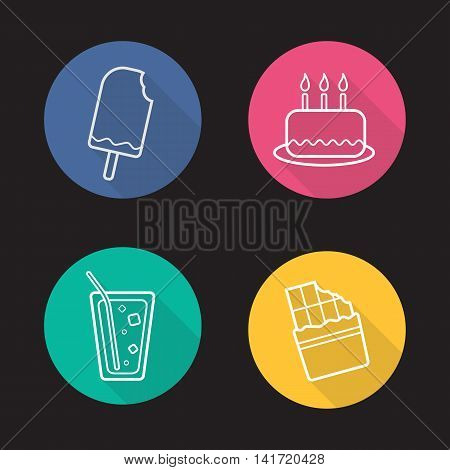 Sweets flat linear long shadow icons set. Confectionery products. Bitten ice cream, birthday cake with candles, lemonade glass with straw and ice, bitten chocolate bar. Vector line symbols